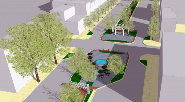 Each plaza gets its own personality in this conceptual design for Bainbridge Green.