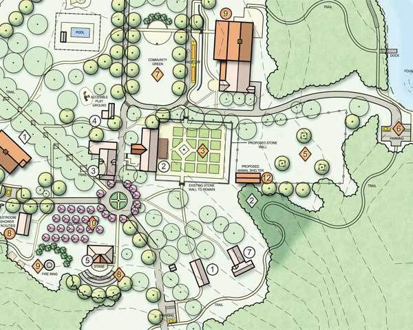A vignette from the conceptual master plan illustrating an engaging future for Fellowship Farm.