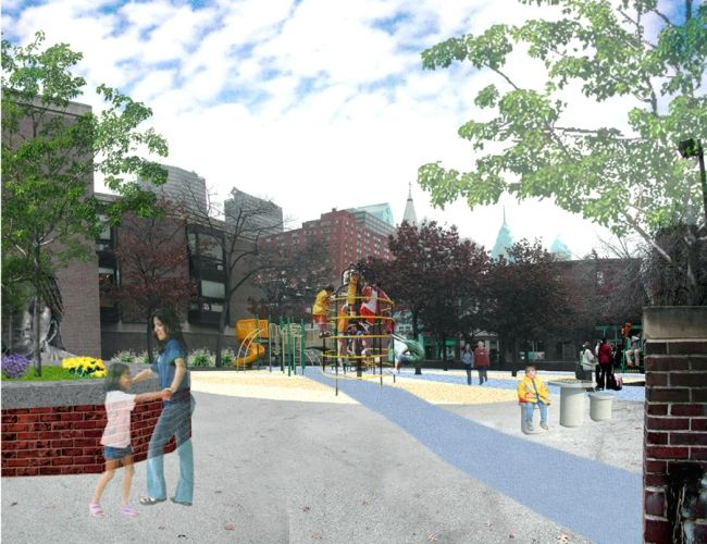 A 2006 rendering of Greenfield presents the potential for a greener, more sustainable campus for this Philadelphia public school.